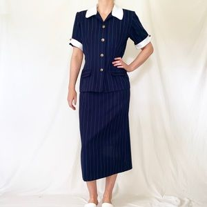 Vintage 80s Does 40s Navy Pinstriped Skirt Suit
